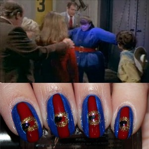 Inspired by Violet Beauregarde from the 1971 film, Willy Wonka and the Chocolate Factory. See more photos & my step-by-step tutorial here: http://www.swatchandlearn.com/reader-requested-nail-art-tutorial-violet-beauregarde-nails/