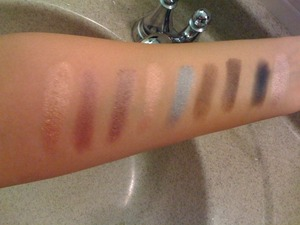 I got these on sale for 3 dollars each at urban decay.com  L to R Half baked, toasted, YDK, Blaze, S&M, Secret Service, Twice Baked, Perversion, Sin