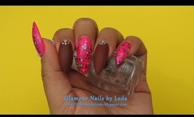GNbL - Brown Matte and Glitzy Pink Nails