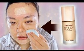 Let's Try Out...KOREAN FOUNDATION! Holika Holika Hard Cover Glow Foundation Review + Wear Test