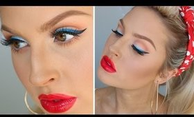 Modern Pin Up Tutorial ♡ Ombre Blue Eyeliner!