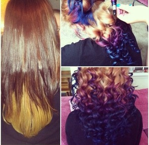 Before and after I did a friends hair , Bw2 , Blonde Dye & Splat in Blue and Purple