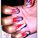 Firework 4th of July nail Design!!