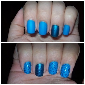 Matte electric blue nails, with a twist, shiny animal print