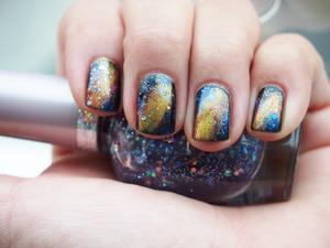 Yellow nebula/galaxy nails