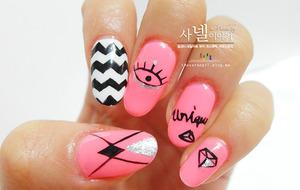 http://saranail.blogspot.kr/2014/03/saranail-fluorescent-pink-nails-diami.html