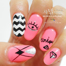 [Saranail] fluorescent pink nails/ DIAMI DP265/ Pink unique self-nailart