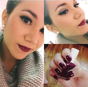 Eyes: naked 2 palette Lips: Nyx lip pencil in plum, Milani lipstick in sangria Nails: Essie Bahama Mama