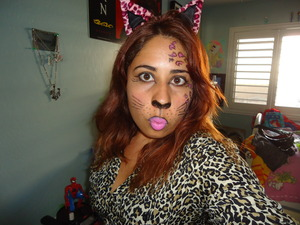 This was an animal make-up I did for class. I mixed a couple of different types of kitty make-up to create this look.