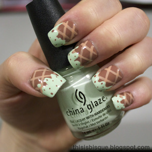 My go to summer nail look! Photo tutorial on my blog: http://thisisbisque.blogspot.ca/2012/04/mint-chocolate-chip-ice-cream-nail.html