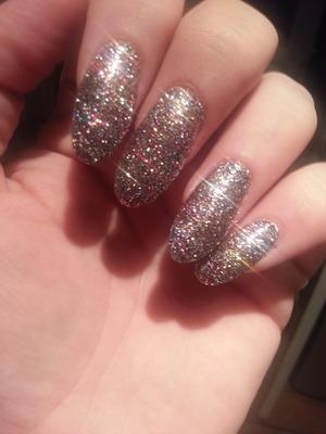 Nail acrylic in multicoloured glitter, beautiful!!! Xx