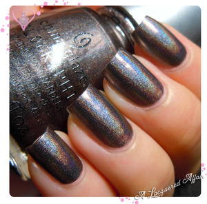2 coats China Glaze Galactic Gray from the Hologlam 2013 collection, without topcoat.