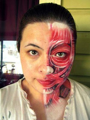 Compare? Half skin person make-up. Face anatomy