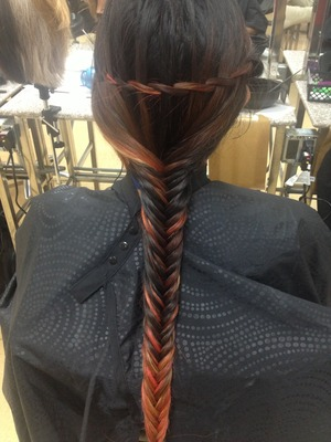 Waterfall fishtail braid done by me :)