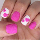 Velvet Valentine Hearts Nail Art