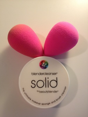 Beauty Blender sponges with solid cleanser.