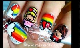 Kawaii Rainbow Couple Nails
