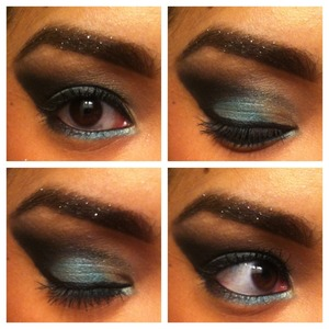 aqua smokey eye and glitter eyebrows with smashbox, laura mercier, and bobbi brown products