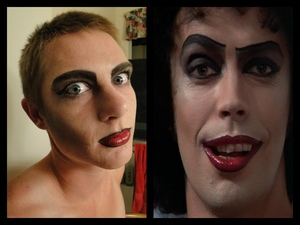 Rocky Horror Picture Show makeup on my brother :)