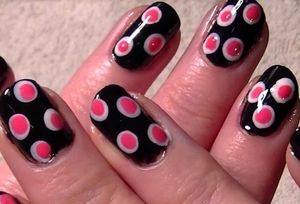 Another pink & black design. All made using a q-tip! Video for this one can be found here http://www.youtube.com/watch?v=n2n0F7pUFiU