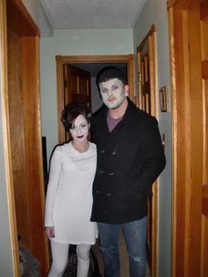 Bride of Frankenstein & Frankenstein's Monster (halloween costume, couldn't do neck haha)