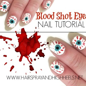 Blood Shot Eyes Halloween Nail Tutorial On The Blog http://www.hairsprayandhighheels.net/2013/10/halloween-nails-tutorial-blood-shot-eyes.html