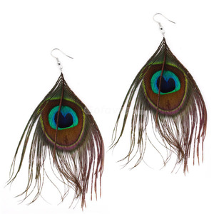 Personalized Peacock Feather Long Dangle Earrings-$3.99