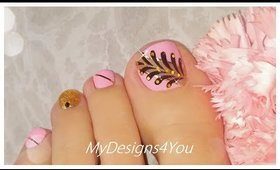 Cute and Easy Toenail Art Design | Pink and Gold Spring Pedicure ♥