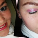 pink shadow, white eyeliner