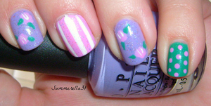 OPI Do You Lilac It?, China Glaze Dance Baby, Sinful Colors Rise and Shine, Wet N Wild Hallucinate and a white striper polish