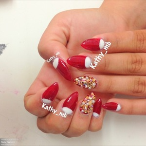 Red and white stiletto nails @kathy_mb