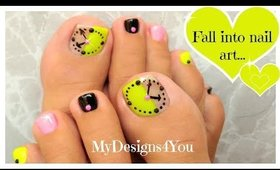 Fun Clock Toenail Art Design | Neon Pedicure ♥