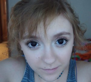 This is a really natural anime type look I did with my own home made colored contacts! If you have a better name I would love to hear it!
