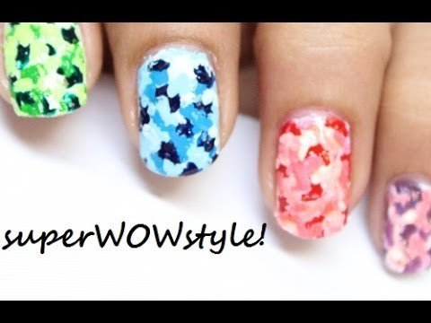 Colorful Camouflage Nails With Toothpick No Tools Nail