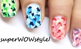 Colorful Camouflage Nails - with Toothpick !! - NO TOOLS nail art designs (without tools)
