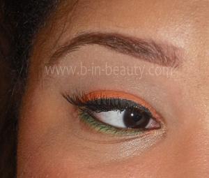 Products Used: Eyes Urban Decay Primer Potion - Eden NYX Jumbo Eyeshadow Pencil - Milk (604) (Base) NYX Single Eyeshadow – Hot Orange (97) (Lid) NYX Single Eyeshadow – Pure Skin (83A) (Transition) NYX Single Eyeshadow – Highlight (07) (Highlight) NYX Single Eyeshadow – Ultimatum (155A) (Tearduct) Wet –n- Wild Mega Liner Liquid Eyeliner – Black (861) Avon Glimmersticks Eyeliner – Blackest Black (Waterline) NYX Single Eyeshadow – Lime Juice (87) (Lower Lashline) Maybelline Lash Stiletto Voluptuous Mascara - Very Black (WF 319) Ardell Fashion Lashes 116 Black Maybelline The Falsies - Brown Black (Lower Lashes)