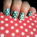 NAV | Green & White Polka Dot Nail Art