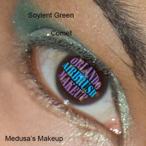 Medusa's Makeup Soylet Green (crease) & Comet (lid), available at http://www.OrlandoAirbrushMakeup.com, serving the Orlando and Miami markets.