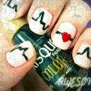 Cardiogram line nail art