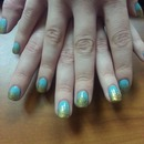 Turquoise Gold Glitter Fade