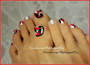 Retro Mosaic Toenail Art Design