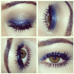 Use the turquoise Maybelline Color Tattoo on lid, Mac deep truth eyeshadow on top, blend Naked eyeshadow from the Naked palette in crease, then add the blue Heavy Glam glitter liner from Urban Decay on lid. Make sure you let it dry before you open your eyes all the way or it will get on the crease a bit!