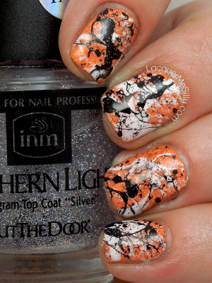 Halloween themed manicure using the splatter method. More information can be found on my blog: http://www.lacquermesilly.com/2013/10/29/halloween-splatter/