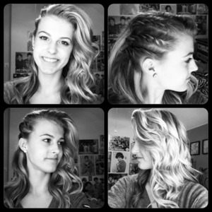 hotd: loose bangs, 3 twist braids on one side, and curls
