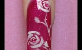 Valentine's Day roses Nail Art Design Tutorial pink glitter & white