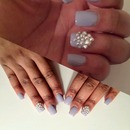 Cute Blinged Out Lavender Nails