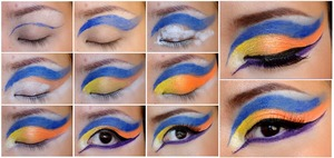 MY pretty little freak:  Using: MAKE UP FOR EVER 12 colour palette, Stargazer vivid palette, Lime Crime magic dust-circus girl, Barry M - 99 deep indingo, Illamasqua ink - Abyss, MAC Cosmetics - gotta dash.