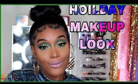 Green Glitter Glam Holiday Look