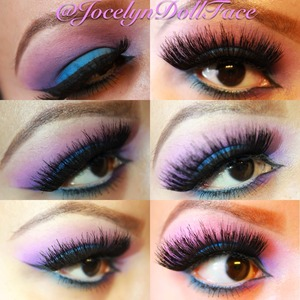 If you pin this photo mention me on Pinterest @jocelyndollface Also follow me on Instagram @jocelyndollface  Having a little fun with color today. I used pink on the upper crease as a transition color. Purple in the crease then blue on the lid. Blend and viola you have a colorful smokey eye
