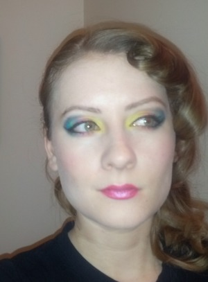 I used a lot of drug store eyeshadow.  Some L'Oreal (HD), Annabelle (Loose colour pigments), Maybeline liquid liner (felt tip pen), Cover Girl (Duo-tone lipstick), Revlon concealer, foundation and powder, and the name rubbed off of the brow filler (aka brown, matte eye shadow I used).  OOOH! Also Mary Kay eye primer and after the MK make up remover (that stuff is like gold to me!)